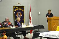 Lion President Carol Becker at the November meeting